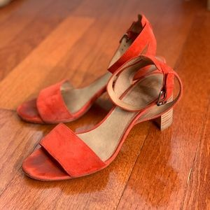 MADEWELL orange suede sandals 8.5